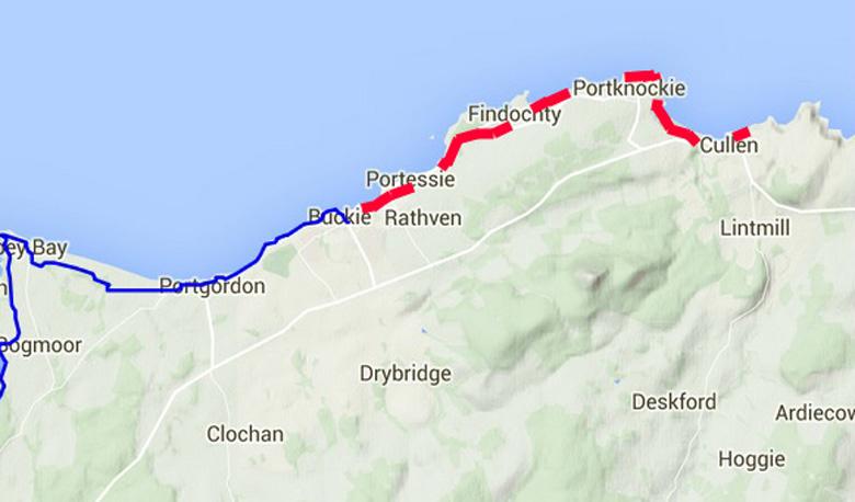 routekaart Moray Coast Trail Cullen-Buckie