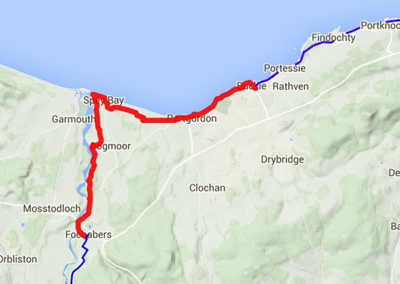 routekaart Speyside Way Buckie-Fochabers