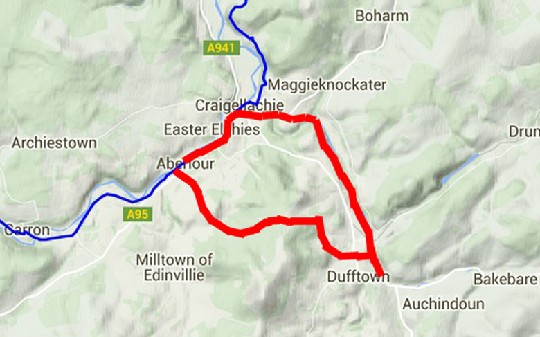 routekaart Speyside Way Dufftown Loop
