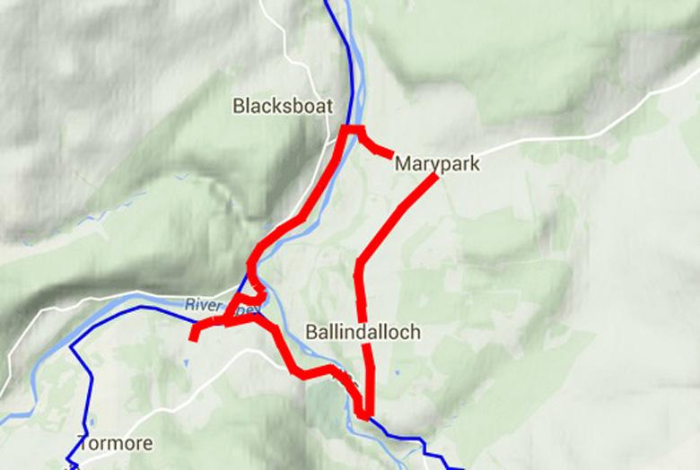 routekaart Ballindalloch Marypark en Brigde of Avon