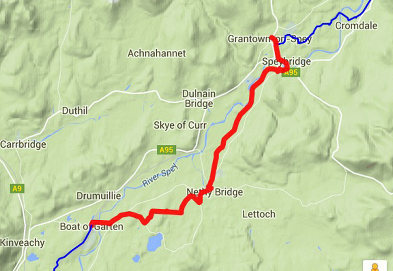 routekaart Speyside Way Grantown naar Boat of Garten