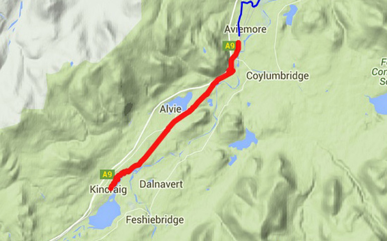 routekaart East Highland Way van Kincraig naar Aviemore