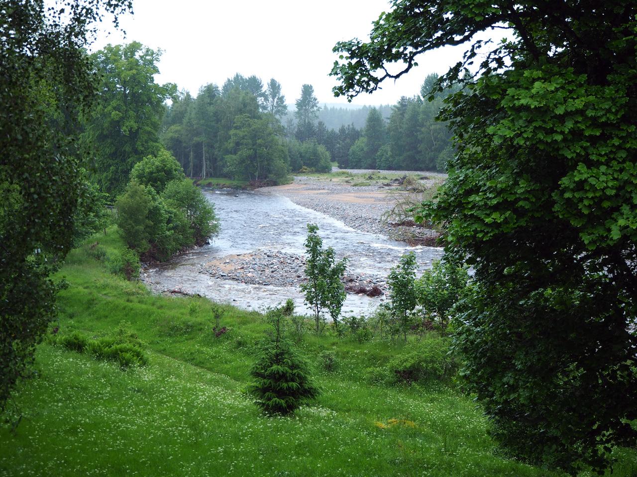 het eerste zicht op de bulderende River Feshie