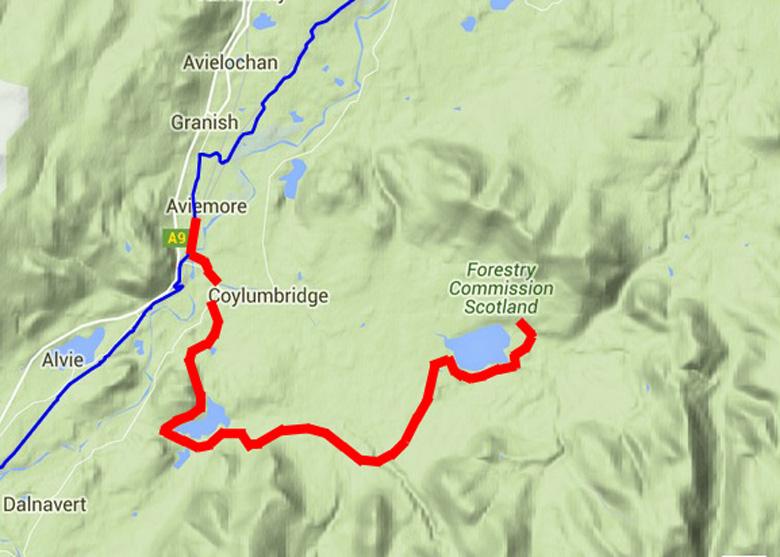routekaart Cairngorms wandeltocht van Cairn Gorm naar Aviemore