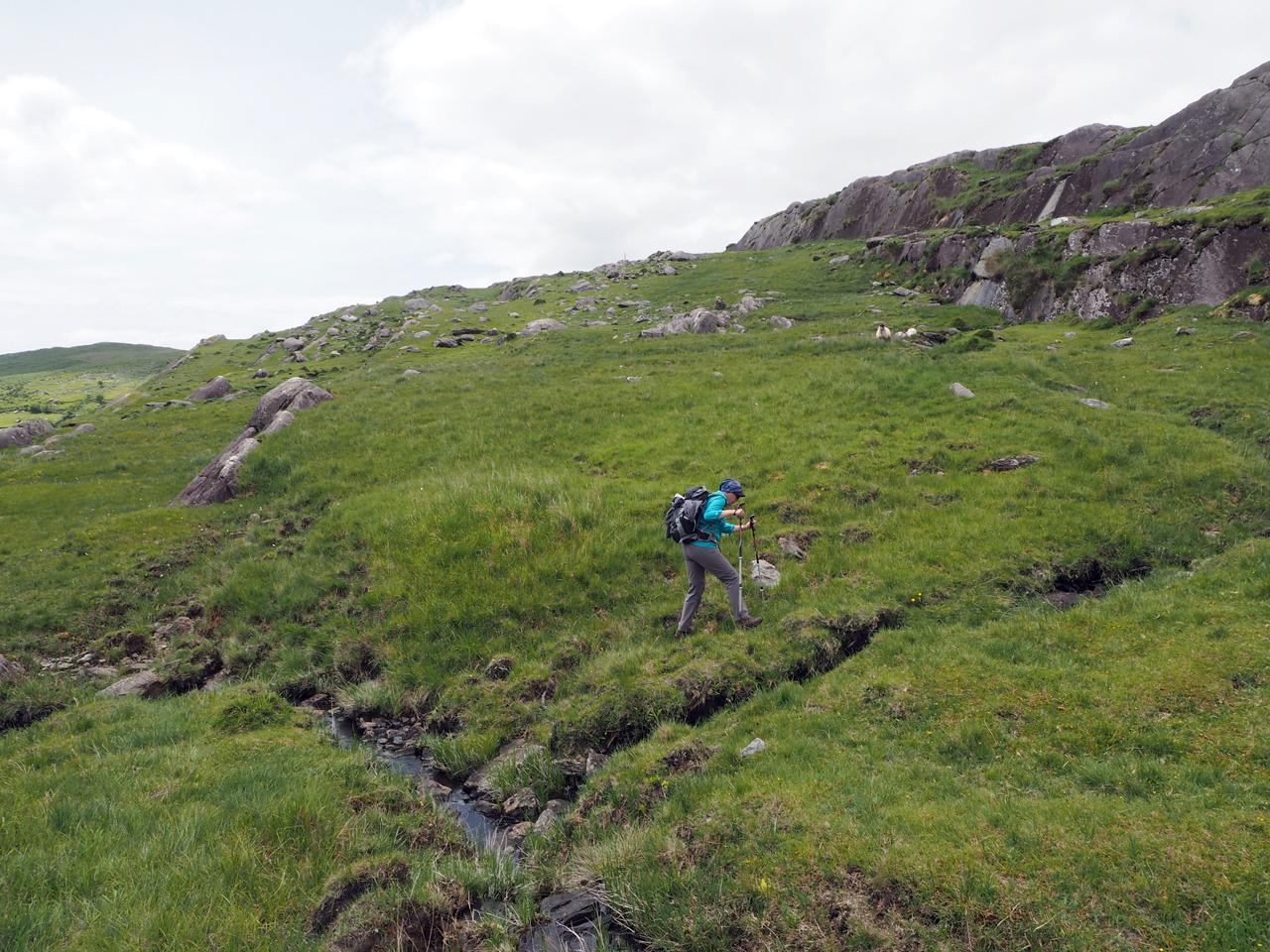 Janny zoekt een route tussen de waterloopjes