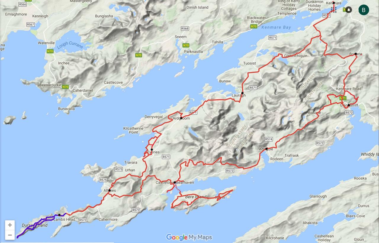 routekaart Beara Way Dursey Island loop