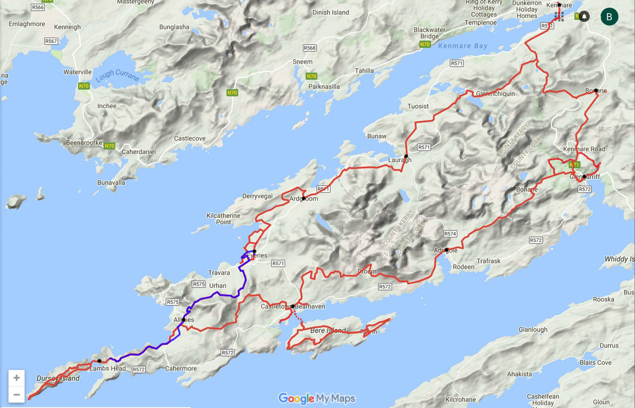 routekaart Beara Way Dursey Sound Eyeries
