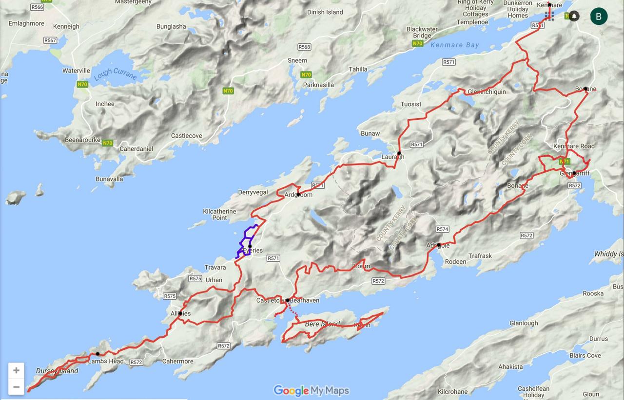 routekaart Beara Way kustwandeling