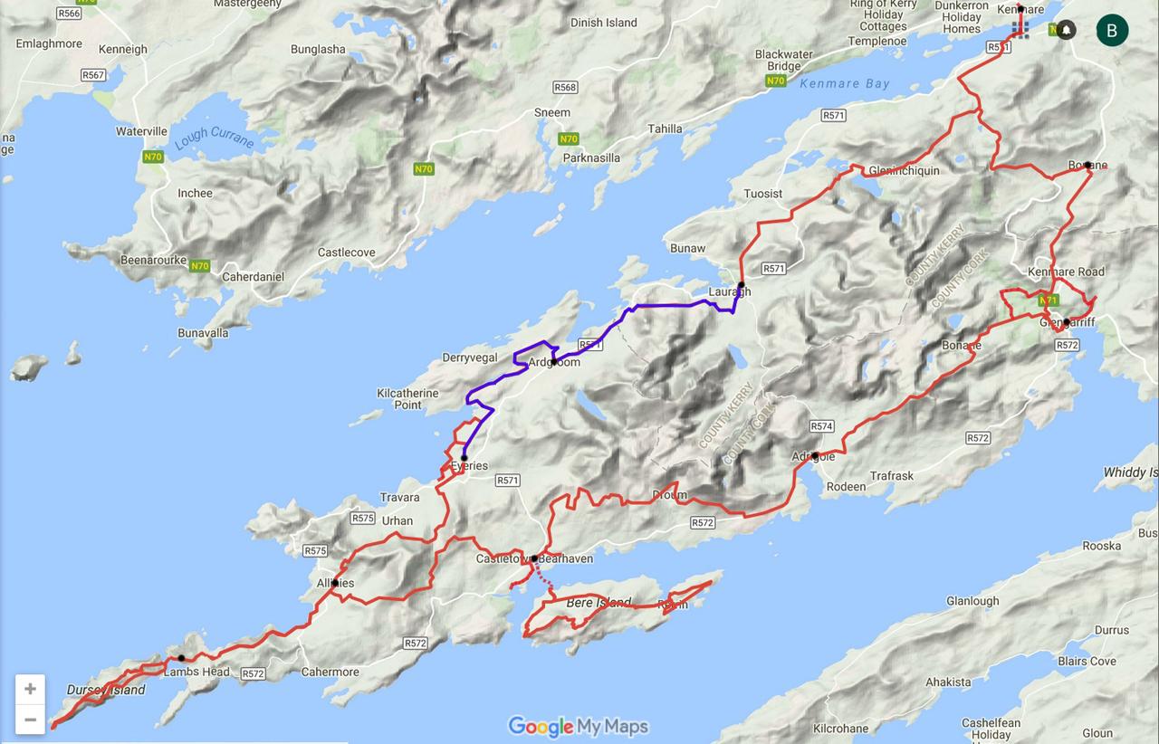 routekaart Beara Way van Eyeries naar Lauragh