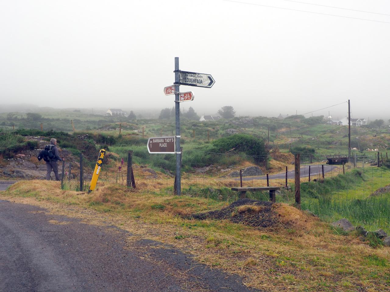 afslag richting Lough Fada