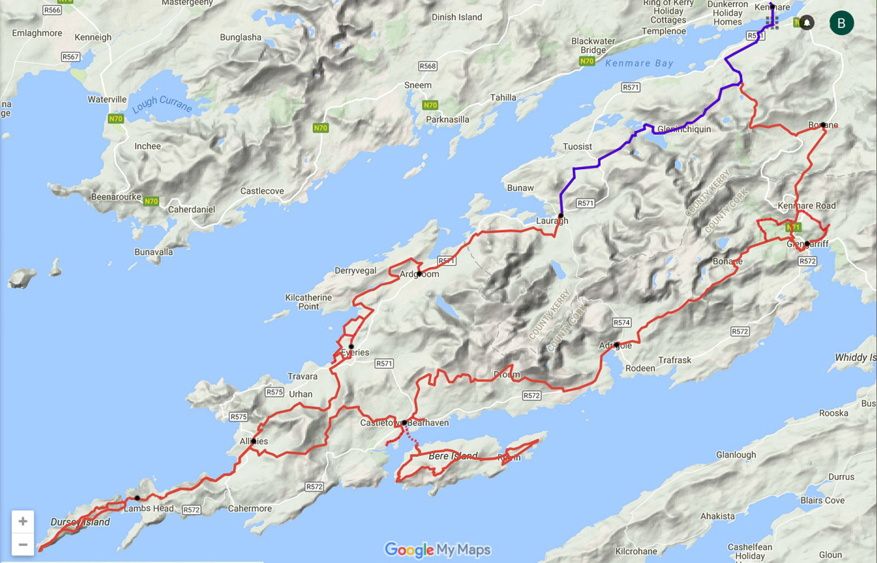 routekaart Beara Way Lauragh naar Kenmare